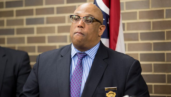 Cincinnati Chief of Police Eliot Isaac discusses 2016 heroin overdose numbers during a press conference at the coroner's office in Corryville. There were 403 overdose deaths in 2016. In 2017, the county is already seeing a rise in deaths, including nine in one February weekend.
