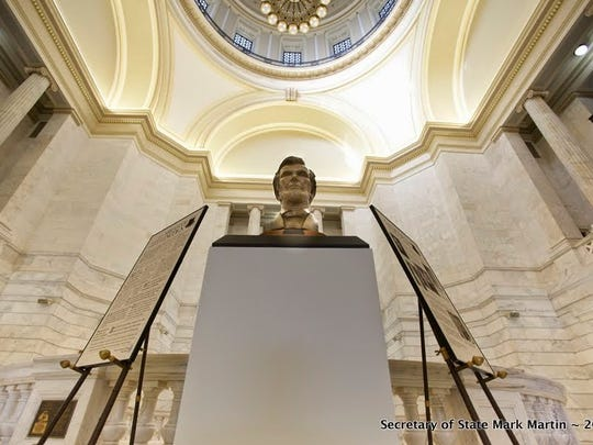 The bust of Abraham Lincoln was created by local sculptor Ron Moore from Mountain Home. The bust will be on display in the Capitol Rotunda on the second floor through the spring.