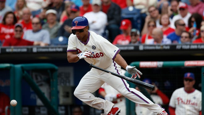 Philadelphia Phillies' Ben Revere in action during an interleague baseball game against the Los Angeles Angels, Wednesday, May 14, 2014, in Philadelphia. (AP Photo)
