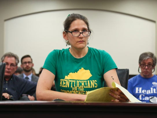 Clare White, 26, speaking during a public hearing to