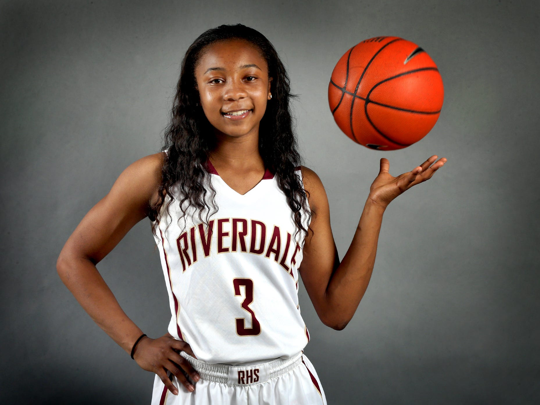 Anastasia Hayes is one of the players on the all-area girls basketball team. Photo shot in the studio on April 9, 2015.