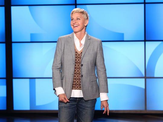 """Ellen DeGeneres during a taping of """"The Ellen DeGeneres Show"""" in Burbank, Calif."""