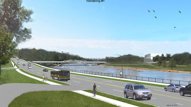 A design rendering shows what Dubuque Street and the Park Road Bridge could look like after the Iowa City Gateway Project is completed.
