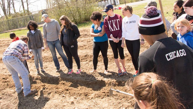 College students participating in United Way of Williamson County's Alternative Spring Break program help plant the spring crop at Fairview community gardens located at Westview United Methodist Church.