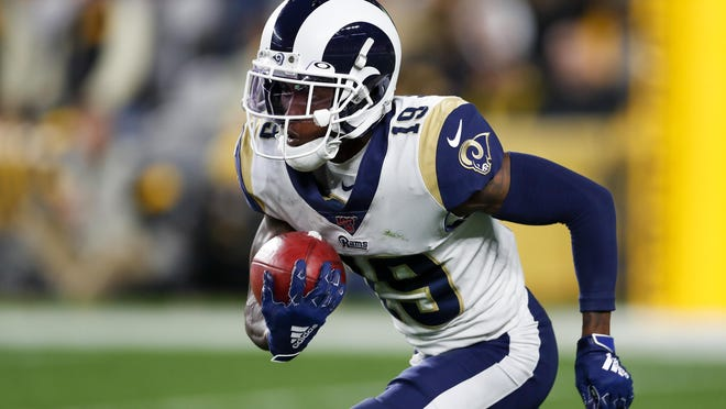 Los Angeles Rams wide receiver JoJo Natson carries the ball against the Pittsburgh Steelers on Nov. 10, 2019. The former University of Akron star signed with the Browns as a free agent.
