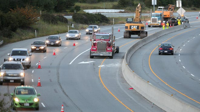 Traffic moves along Highway 101 in Prunedale during roadwork.