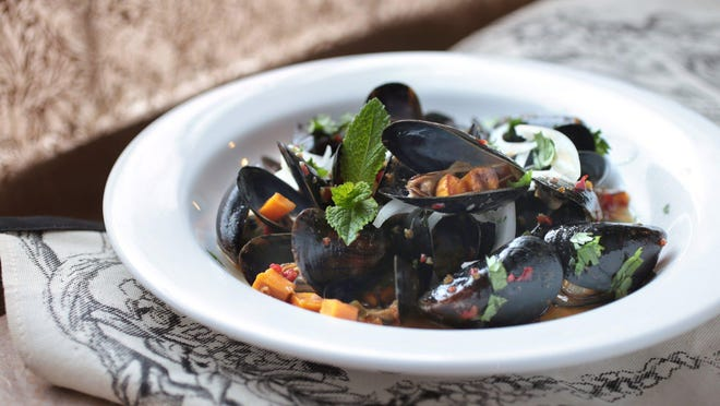 Mabel Gray. Mussels with hot Pepper Jelly, Coconut milk sauce. Thursday, April 7, 2016, recipes by Detroit Free Press Food writer Susan Selasky, at the Great Lakes Culinary Center in Southfield. Jessica J. Trevino/Detroit Free Press.