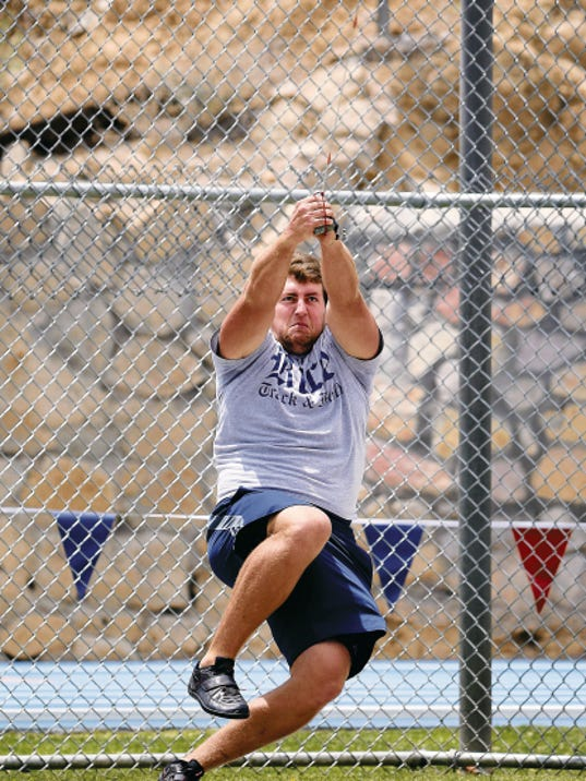 MARK LAMBIE-EL PASO TIMES  Rice's Duncan Dickerson won the men's hammer throw Friday at the C-USA Outdoor Track and Field Championships at Kidd Field.