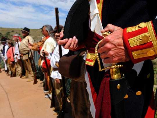 The Lewis and Clark Honor Guard during the opening ceremony of the Lewis and Clark Festival in  2012 at the Lewis and Clark Interpretive Center. The honor guard has come a long way since its founding in 1989.