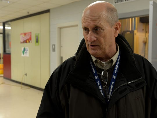 Crockett County Schools Director Bobby Mullins walked through the vocational building as cleanup continued after an EF-1 tornado touched down in the area Tuesday evening.