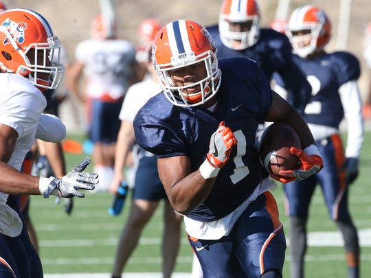 UTEP wide receiver Kavika Johnson, 7, runs a play during