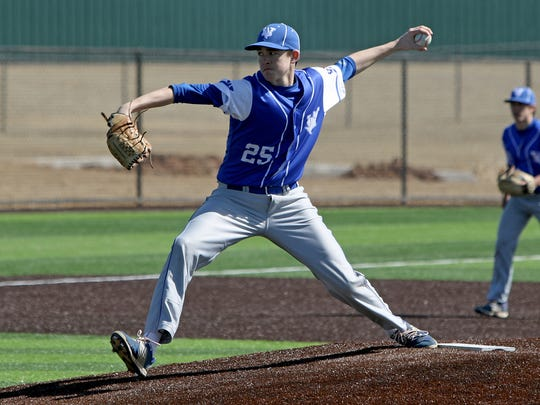 Windthorst's Tyler Etheredge pitches last year against Paradise. He missed much of district with a severe injury suffered in a July car wreck.