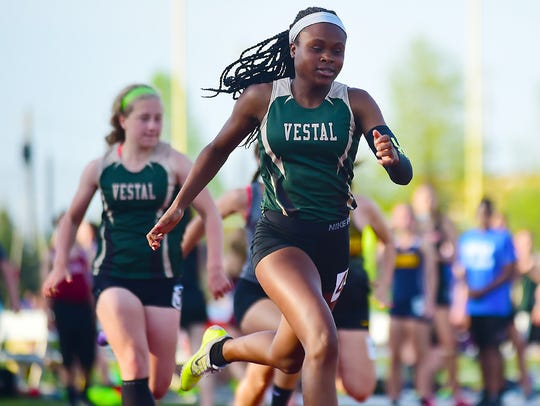 Tia Jones of Vestal during the STAC Track and Field