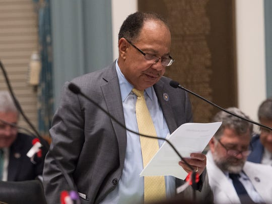 J.J. Johnson, D-New Castle during the last day of session