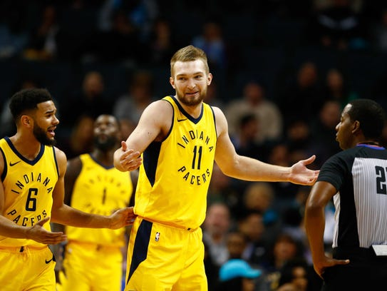 Pacers guard Cory Joseph (6) and center Domantas Sabonis