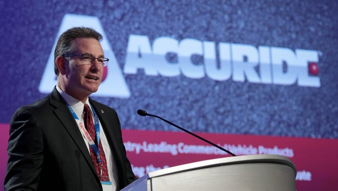 Richard Dauch, President & CEO of Accuride Corporation, speaks at the Center For Automotive Research Management Briefing Seminars in Traverse City on August 4, 2016.