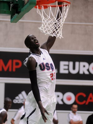 Thon Maker of team USA dunks during adidas Eurocamp day one at La Ghirada sports center on June 7, 2014 in Treviso, Italy.