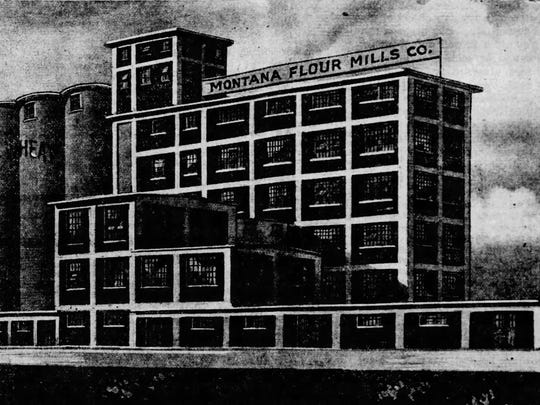An architects' drawing from 1916 shows what builders expected the Montana Flour Mills to look like upon completion.