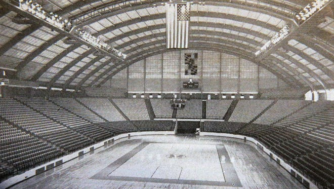 A photo of Cole Field House in the official program sold at the Championship game of the 1966 NCAA Basketball Championship which was played at Cole Field House, University of Maryland, College Park, Md. The Texas Western Miners squared off against the University of Kentucky Wildcats and in the end won the game with five black players in their starting lineup.