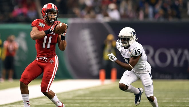 Louisiana-Lafayette wide receiver James Butler (11) during the R&L Carriers New Orleans Bowl at the Mercedes-Benz Superdome on Dec. 20, 2014.
