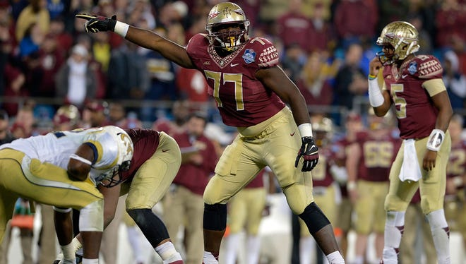 Florida State tackle Roderick Johnson (77) leads the way for the Seminoles' offensive line with 18 career starts.