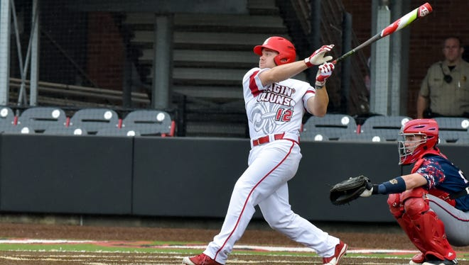 UL's Joe Robbins, who homered against South Alabama on Friday night and Sunday, swings away over the weekend.