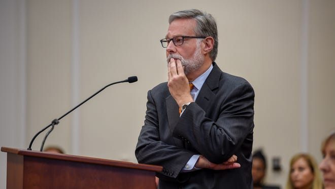 Chief Operating Officer Richard Riebeling listens to questions from the Council about the new stadium being built to bring Major League Soccer to Nashville at the Council Chambers in Nashville, Tenn., Monday, Oct. 2, 2017.