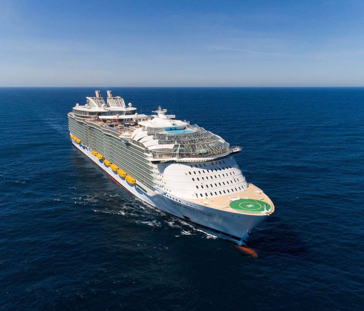 1. Royal Caribbean's Symphony of the Seas. Unveiled in March 2018, the 18-deck-high vessel measures 228,081 tons and can carry up to 6,680 passengers at full capacity.