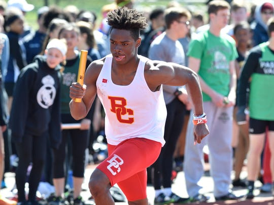 Rahmir Johnson of Bergen Catholic competes in the boys E sprint medley at the 57th annual Jack Yockers Bergen County Relays at River Dell High School.