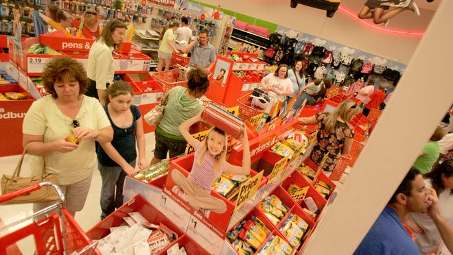 Shoppers load up on school supplies at Target during a past Tennessee tax free weekend. This year's holiday is July 27-29.