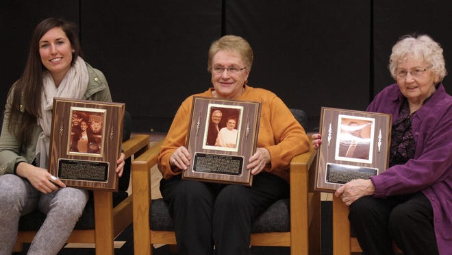 From left, Julie Wojta, Joan Krause and Wilma Rehbein (on behalf of her husband, Don), were inducted into the Mishicot Community Hall of Fame in February.