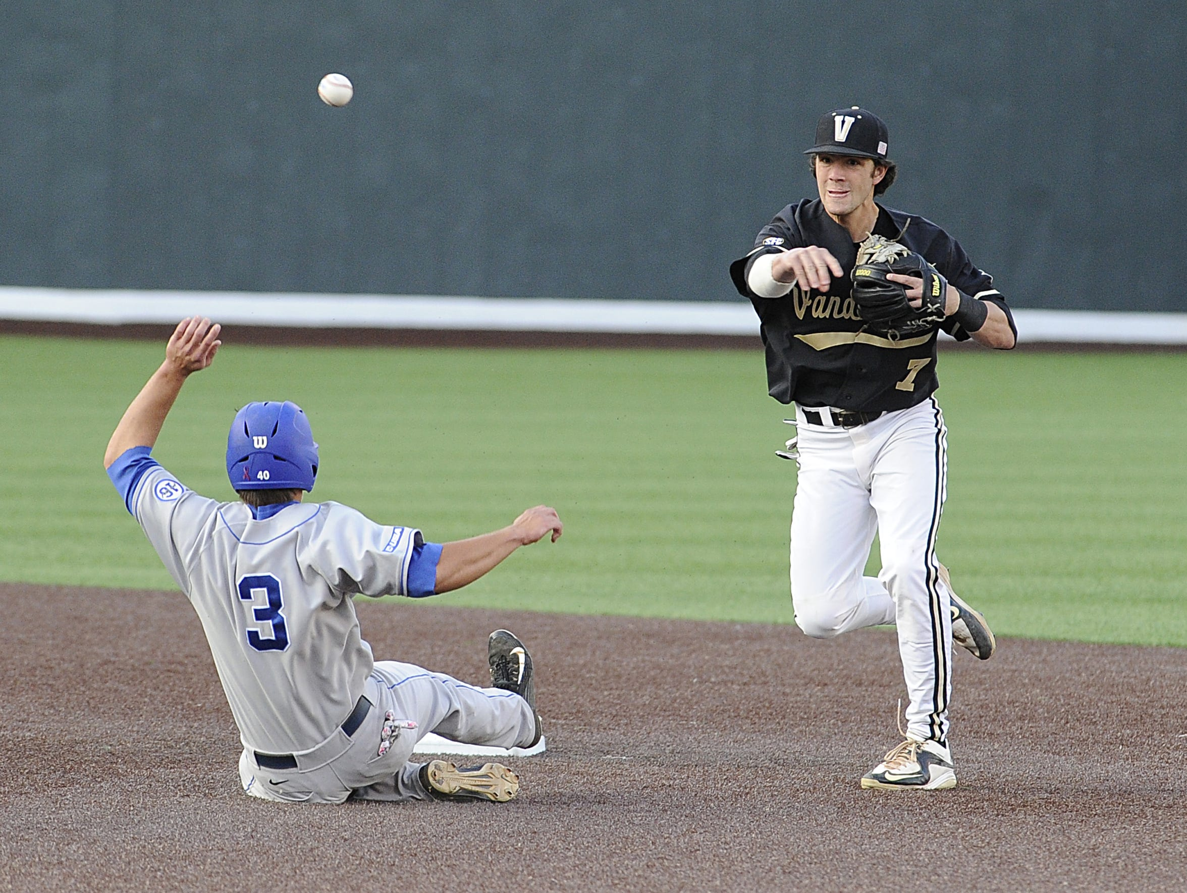 Vanderbilt's Dansby Swanson gets a double play as MTSU's