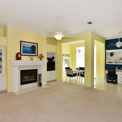 2536 Meek Street, the open family room with a fireplace.
