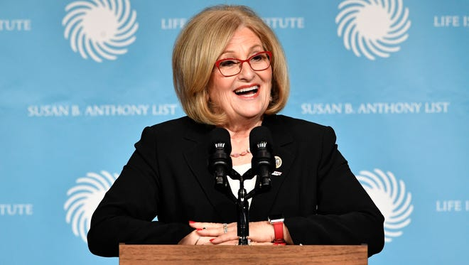 U.S. Rep. Diane Black speaks at the Susan B. Anthony List & Life Institute luncheon Tuesday, Feb. 27, 2018, in Nashville.