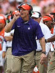 Clemson defensive coordinator Brent Venables coaches against Wake Forest during the 4th quarter on Saturday, October 7, 2017 at Clemson's Memorial Stadium.