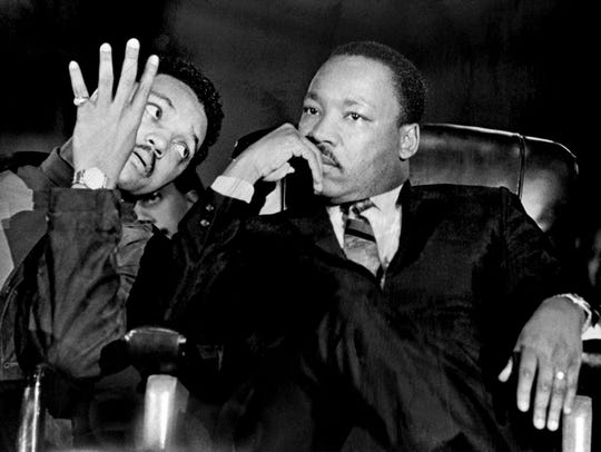 Dr. Martin Luther King Jr. and Jesse Jackson at Mason Temple on April 3, 1968.
