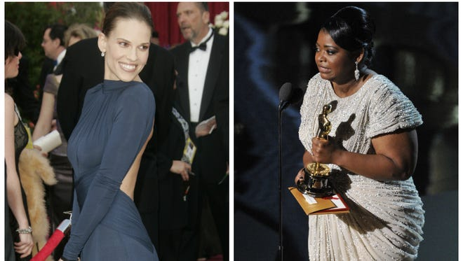 Hilary Swank's navy, backless dress in 2005 is an outlier among the past decade's female top Oscar winners. Those who nabbed awards were more likely to dress in neutrals and in safe designs, such as Octavia Spencer's frock in 2012.