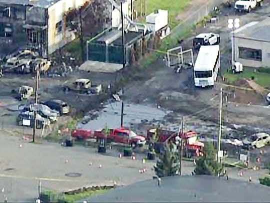 The scene of the Carlstadt plane crash on Tuesday, May 16, 2017.