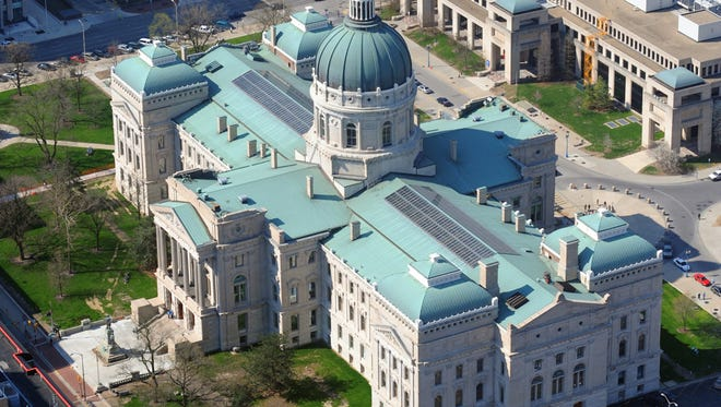 Indiana Statehouse from WTHR Chopper13.