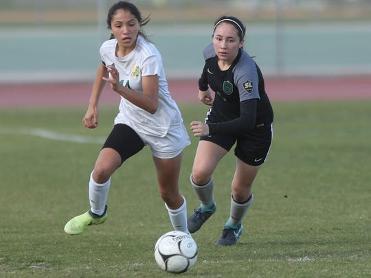 Eva Torres of Coachella Valley brings the ball upfield against San Gabriel Mission February 27, 2018.
