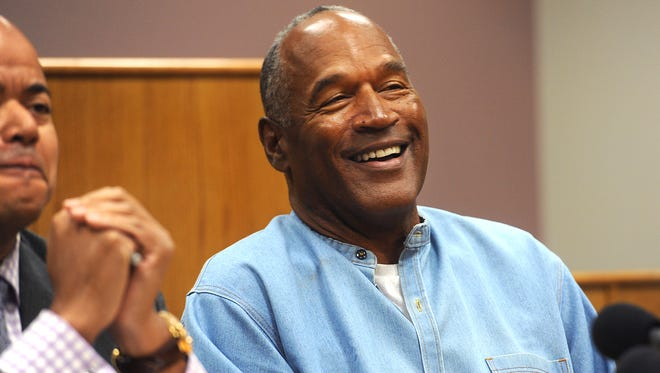 O.J. Simpson attends a parole hearing at Lovelock Correctional Center in July.