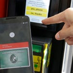 Android Pay is demonstrated during the 2015 Google I/O conference on May 28 in San Francisco.