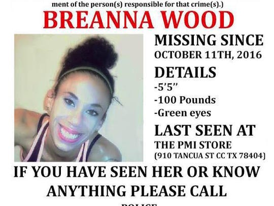 Corpus Christi police asked for help Oct. 20 searching for Breanna Wood.