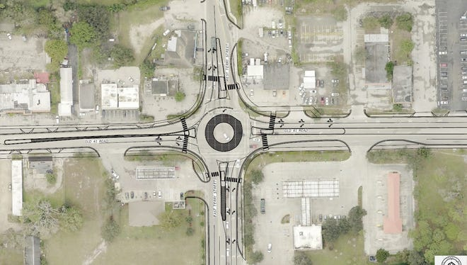 The roundabout will feature right turn lanes to keep some motorists off the main road.