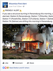 A post on the Wicomico First alert page.