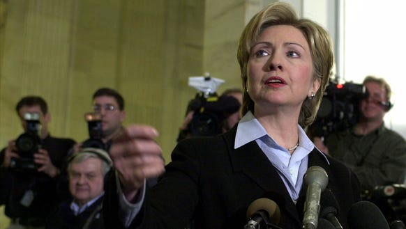 Hillary Clinton faces cameras and reporters on Capitol