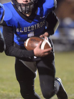 Goessel sophomore Grant Bryant carries the ball during play Friday against Hoxie.