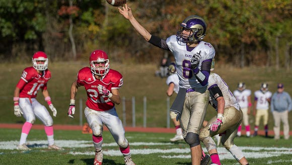 Clarkstown North Quarterback Jake Katz throws a pass