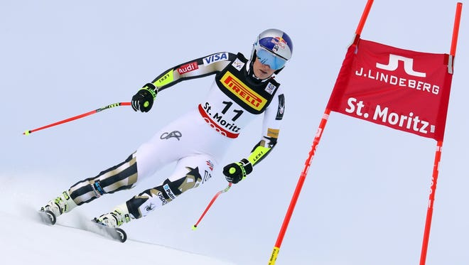 Lindsey Vonn fails to finish a women's super-G, at the Alpine Ski World Championships, in St. Moritz, Switzerland, on Feb. 7.