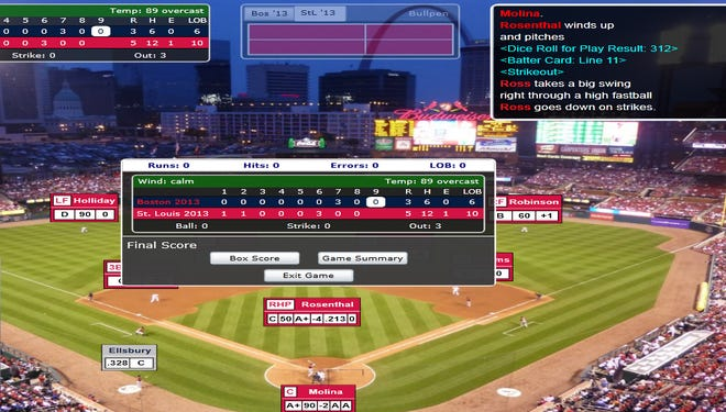 A screenshot of the final score in the clinching Game 5 of the Simulated World Series, won by the St. Louis Cardinals four games to one.
